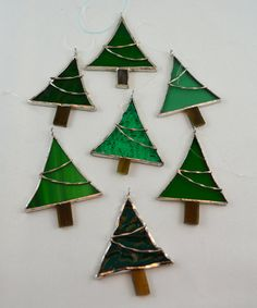 Christmas Tree Ornament ~ Miniature Christmas Trees, Assortment ~ Tiny Green Christmas Trees, Various Shades and Textures of Green, Holidays