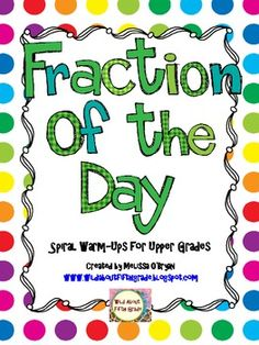 This Fraction of the Day resource is perfect for reinforcing common core fraction skills for your upper grades students (4th-6th). Skills include: decomposing fractions, comparing, equivalents, addition and subtraction (with like and unlike denominators, and mixed numbers), multiplication (with whole numbers and fractions by fractions), division, error analysis, improper fractions, reducing fractions, and more. $