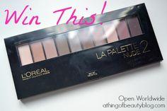Win a L'Oreal La Palette Nude 2 on the blog, open worldwide!
