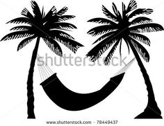 stock-vector-silhouette-of-hammock-under-the-palm-trees-78449437.jpg (450×348)