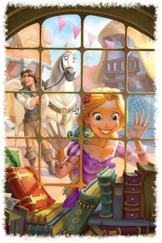 Flynn Rider, Maximus and Rapunzel from Disney's Tangled. Like Belle before her, Rapunzel loves to read. Disney Pixar, Deco Disney, Animation Disney, Disney Fan Art, Disney Girls, Disney And Dreamworks, Disney Love, Disney Magic, Rapunzel Flynn