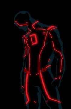 Daredevil. Tron style Marvel character by Kristafer Anka @ http://anklesnsocks.deviantart.com/gallery/27312045.