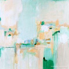 Summer Rain by Parima Studio, abstract art, green, blue, teal
