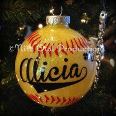 Beautiful glittered Softball Christmas Ornament - personalized  FREE SHIP on Etsy, $15.00