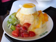 Taiwanese fruit shaved ice with panna cotta