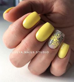70 Cute and Trendy Square Nails Design Page 47 of 76 Soflyme Spring Nail Art, Spring Nails, Summer Nails, Nail Art Designs, Square Nail Designs, Yellow Nails Design, Yellow Nail Art, Short Square Nails, Short Nails