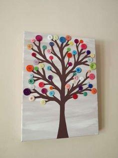 Manualidades navideñas: Actividades infantiles con botones - Árbol de botones de colores