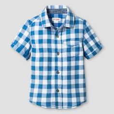 Toddler Boys' Short Sleeve Button Down Shirt Cat & Jack™ - Blue
