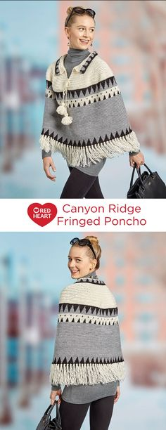 Canyon Ridge Fringed Poncho Free Crochet Pattern in Red Heart Yarns -- Geometric color-changing bands add artisan style to this top-down poncho. It's crocheted in the lighter weight Fashion Soft and finished off with tasseled ties and ample fringe.