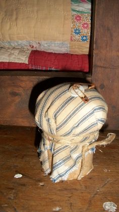 Primitive Old Blue Ticking Pinkeep by countrypresence on Etsy