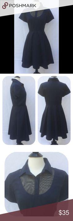 "New Eshakti Navy Fit & Flare Dress 12 New Eshakti navy fit & flare dress. Size 12  Measured flat: Underarm to underarm: 37""  Waist: 31"" Length: 37 ½""  Eshakti size guide for 12 bust: 38 ½""  Shirt collar, net yoke, princess seamed bodice. Side hidden zipper, flared skirt, side seam pockets. Cotton, woven poplin, pre-shrunk, bio-polished, no stretch. Machine wash. New w/ cut out Eshakti tag to prevent returning to Eshakti Dresses"