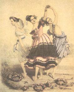 """""""The Three Graces (1840)"""" by Alfred Edward Chalon features ballerinas Marie Taglioni (""""La Sylphide""""), Fanny Elssler (""""Le Diable Boiteux""""), & Carlotta Grisi (""""La Jolie Fille Du Gand"""")."""