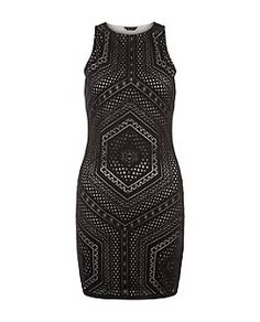 Black Laser Cut Out Bodycon Mini Dress    New Look