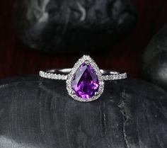 Pear Cut Dark Purple VVS Amethyst 1.88ctw Diamond - 14K White Gold Pave Engagement Ring, Gift Ring