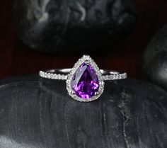 Pear Cut Dark Purple VVS Amethyst 1.88ctw Diamond - 14K White Gold Pave Engagement Ring, Gift Ring