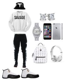 """Untitled #23"" by jayyjayy17 ❤ liked on Polyvore featuring adidas, Retrò, UZI, Blue Nile, West Coast Jewelry, Rolex, MCM and Beats by Dr. Dre"