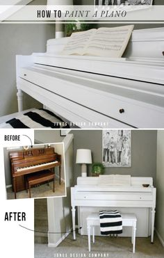 With a piano makeover, they can add color and beauty to any room! Learn how to paint a piano DIY style! Furniture Projects, Furniture Makeover, Diy Furniture, House Furniture, Modern Furniture, Furniture Design, Painted Pianos, Painted Furniture, Pianos Peints