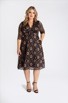 Our Mon Cherie Plus Size Floral Lace Dress takes a classic style and adds a feature we've all been dreaming of - pockets! Designed after our Mademoiselle Lace Dress, this dress is perfect for all your special occasions. Touted as the dress that looks good on everyone, you'll love the flattering A-line silhouette, soft stretch, two-tone lace, and 3/4 length sleeves. Kiyonna Clothing is made in women's plus sizes and offers plus-size outfits, plus-size fashions, and plus-size looks for you.