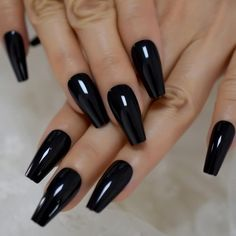 Plain Acrylic Nails, Plain Nails, Best Acrylic Nails, Coffin Press On Nails, Black Coffin Nails, Black Pointed Nails, Black Nail Designs, Acrylic Nail Designs, Dream Nails