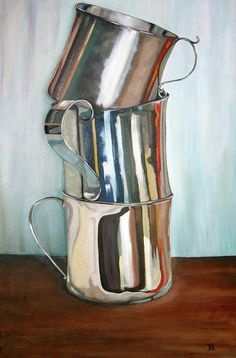Silver baby cups painting still life, still life art, pintura graffiti, ap art Painting Still Life, Still Life Art, Pintura Graffiti, Ap Art, Art Plastique, Love Art, Painting Inspiration, Painting & Drawing, Painting Metal