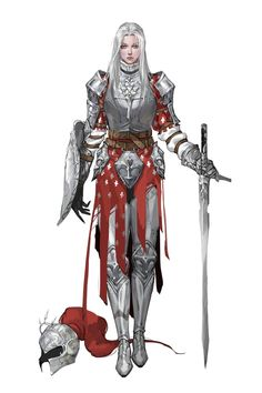 Female Fighter Knight in Plate Armor - Pathfinder PFRPG DND D&D 3.5 5th ed d20 fantasy