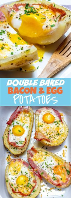 Double Baked Bacon + Egg Potatoes for Super Creative and Clean Breakfast Idea! Double Baked Bacon + Egg Potatoes for Super Creative and Clean Breakfast Idea! Clean Eating Breakfast, Breakfast Time, Breakfast Recipes, Breakfast Ideas, Eating Clean, Healthy Eating, No Carb Recipes, Clean Eating Recipes, Gourmet Recipes
