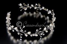 Wedding Hair Vine Headband of Freshwater Pearls and Rhinestones from Cassandra Lynne
