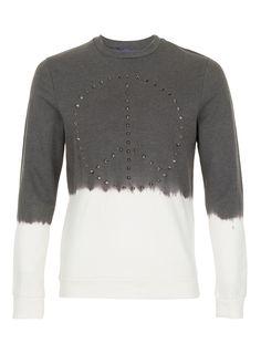 Charcoal Peace Stud Dip Dye Sweatshirt - Men's Sweatshirts - Clothing - TOPMAN