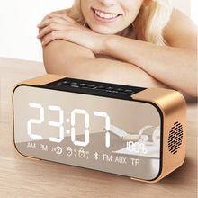 Espejo portátil Altavoz Bluetooth Tarjeta TF FM Radio BT4.2 Tiempo de Alarma reloj AUX Mp3 Pantalla LED Sonido Estéreo Bajo del Regalo de Cumpleaños(China)