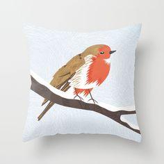 Robin Throw Pillow $20.00 - http://society6.com/madiillustration/Robin-xDk_Pillow