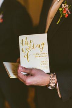 Programs | Calligraphy | A Modern Ethereal Glitter & Blush Wedding