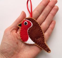 Robin felt bird ornament