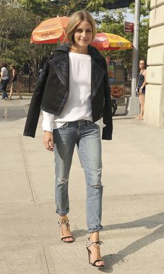 Olivia Palermo showed even a slouchy ripped jean doesn't have to be casual in heels and an embroidered leather jacket.