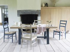 Thanks to its chunky oak top this table will do breakfast, dinner and colouring-in duty for decades. Now mix'n'match with our painted benches and chairs! Trestle Table, Dining Table, Blue Sofa Design, Painted Benches, Comfy, Colouring, House, Dinner, Chairs