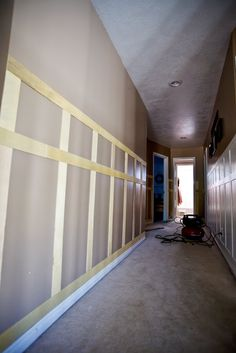 """Wainscoting...using 1/4"""" plywood! Paint and what a punch for so cheap!"""