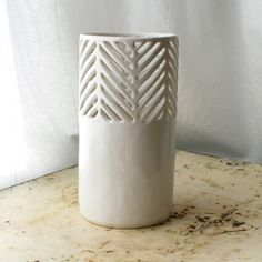 Small Carved Herringbone Vase by Isabelle Abramson Ceramics Available Work