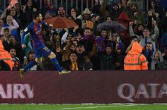 Barcelona's Argentinian forward Lionel Messi celebrates after scoring during the Spanish league football match FC Barcelona vs Sevilla FC at the Camp Nou stadium in Barcelona on April 5, 2017. / AFP PHOTO / LLUIS GENE