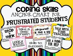 FREE: Coping Skills/Strategy Anchor Chart for Frustration. Great reminder for students on how to be successful in class. Great for Social/Emotional Learning! Elementary School Counseling, School Social Work, School Counselor, Coping Skills, Social Skills, Life Skills, Dealing With Frustration, Behaviour Management, Classroom Management