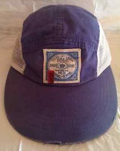 9a9a117a5e0 Vintage Ralph Lauren Polo patch longbill mesh 5 panel cap RARE stadium  pwing usa