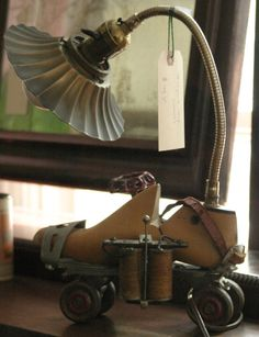 All original Steampunk table lamp, made from parts from other items....works great! At Yardley Antiques store.