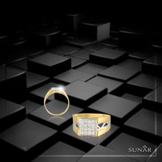 Finest quality of diamonds studded in a gold jacket with the highlights of pure white gold is something that makes this #Ring super classy. Seal The Deal with the exclusive range of Men's Ring finely crafted by the artisans of #Sunar. #SunarJewelsIndia