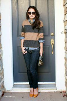 Frills and Ruffles: Boyish striped crew neck sweater chambray shirt