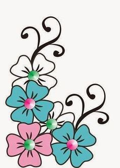 Flor azul e rosa - Bulette Flower Patterns, Flower Designs, Embroidery Patterns, Hand Embroidery, Flower Art Drawing, Rock Flowers, Painted Flower Pots, Art Drawings For Kids, Flower Doodles