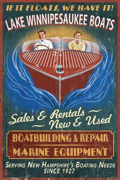 Lake Winnipesaukee, New Hampshire - Vintage Boat Sign - Lantern Press Artwork Giclee Art Print, Gallery Framed, Espresso Wood), Multi Lake Michigan, Wisconsin, Flint Michigan, Michigan Travel, Detroit Michigan, Idaho, Vintage Signs, Vintage Posters, Vintage Labels