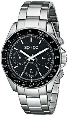 Men's Wrist Watches - SOCO New York Mens 5010B1 Monticello Stainless Steel Day and Date Tachymeter Stainless Steel Link Bracelet Watch -- To view further for this item, visit the image link. (This is an Amazon affiliate link)
