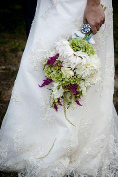 Bridal boquet w/ vintage brooch