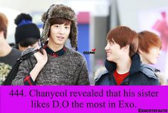 Exo Facts. D.O on Chanyeol Fact haha [credits to photo owner]