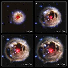Hubble telescope : Unusual stellar outburst. A burst of light from the star is spreading into space and reflecting off surrounding shells of dust to reveal a multicoloured 'bull's eye'.