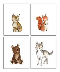 Love this Bear & More Woodsie Four-Piece Print Set on #zulily! #zulilyfinds