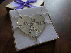 Five handmade Argentium silver puzzle piece necklaces, when put together they make a nice heart. Each piece will have a name hand stamped on to the front (unless you specify that youd like it on the back). If you would prefer a date, just contact me, the date will be written in this format: 01.01.01 Each piece will vary in size but will all be approximately 1.2mm thick. The biggest pieces are approximately no more than 3cm across.   They will each come on an 18 Sterling silver chain, if youd…